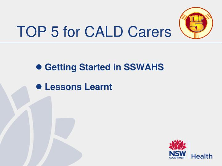 TOP 5 for CALD Carers
