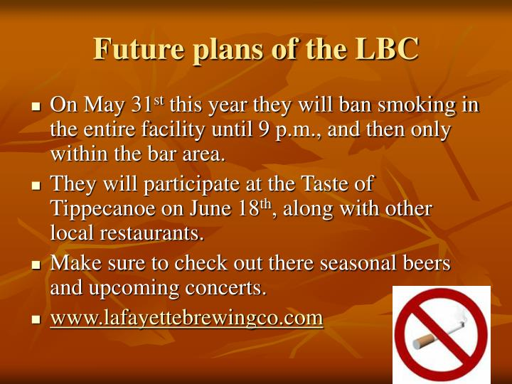 Future plans of the LBC