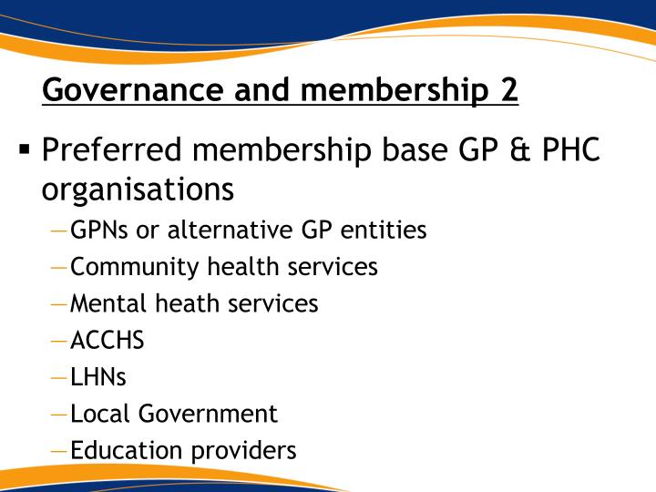 Governance and membership 2