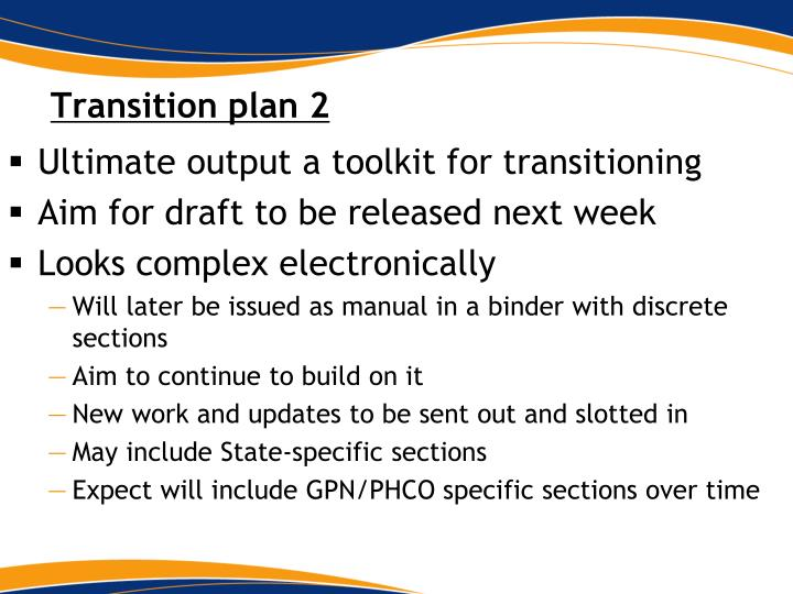 Transition plan 2