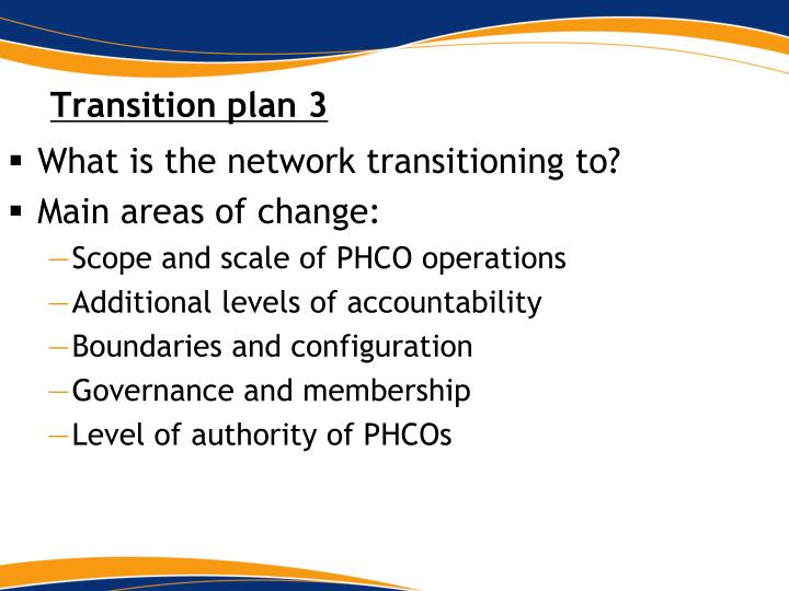 Transition plan 3