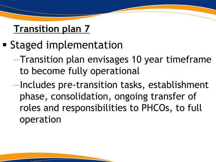 Transition plan 7
