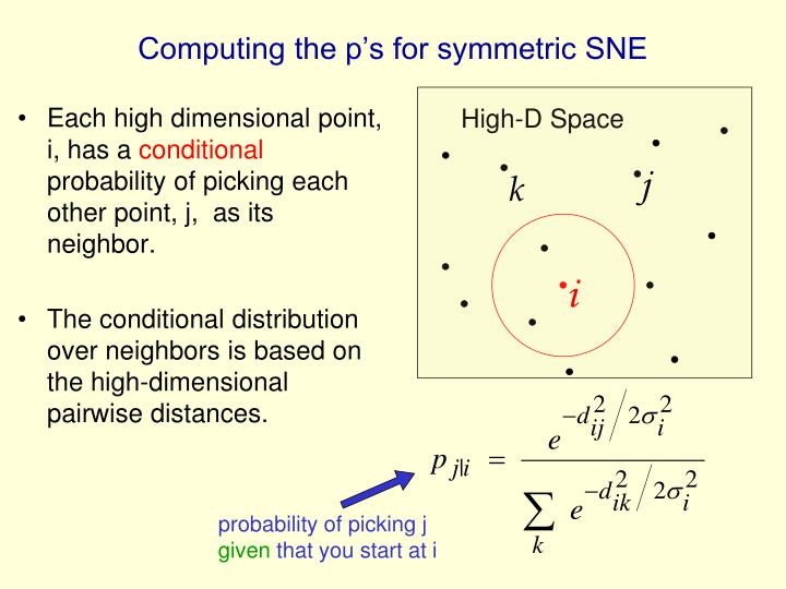 Computing the p's for symmetric SNE