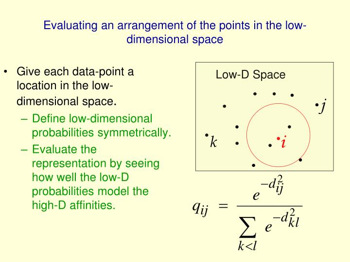 Evaluating an arrangement of the points in the low-dimensional space