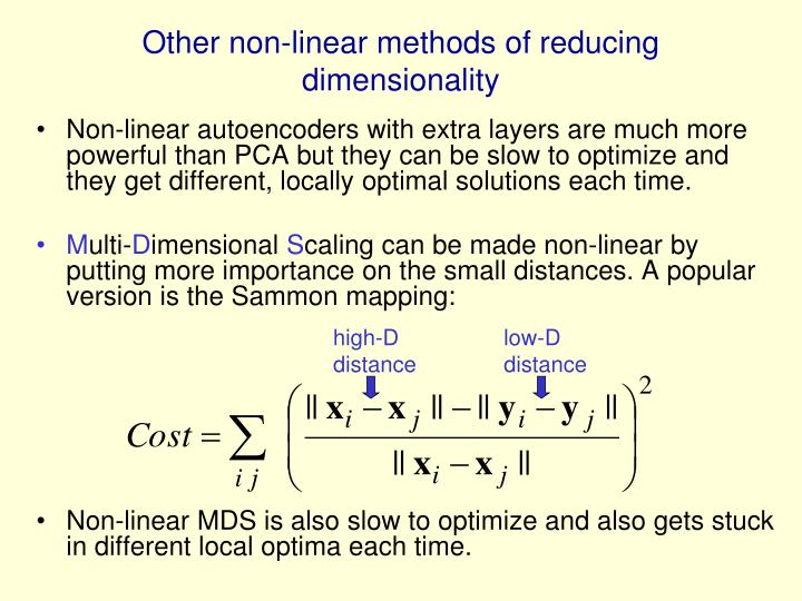Other non-linear methods of reducing dimensionality