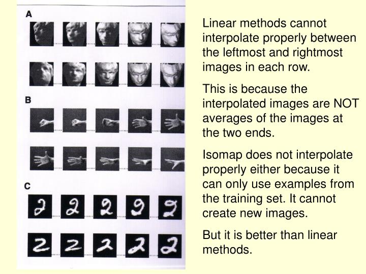 Linear methods cannot interpolate properly between the leftmost and rightmost images in each row.