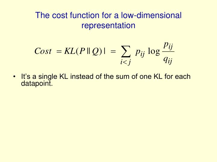The cost function for a low-dimensional representation