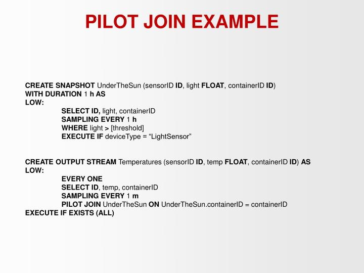 PILOT JOIN EXAMPLE