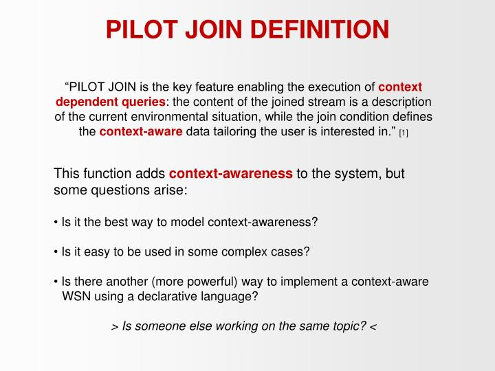 PILOT JOIN DEFINITION