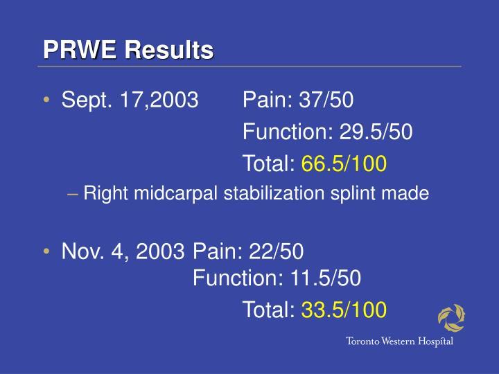 PRWE Results