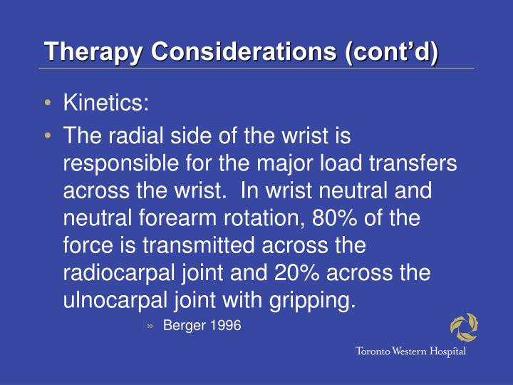 Therapy Considerations (cont'd)