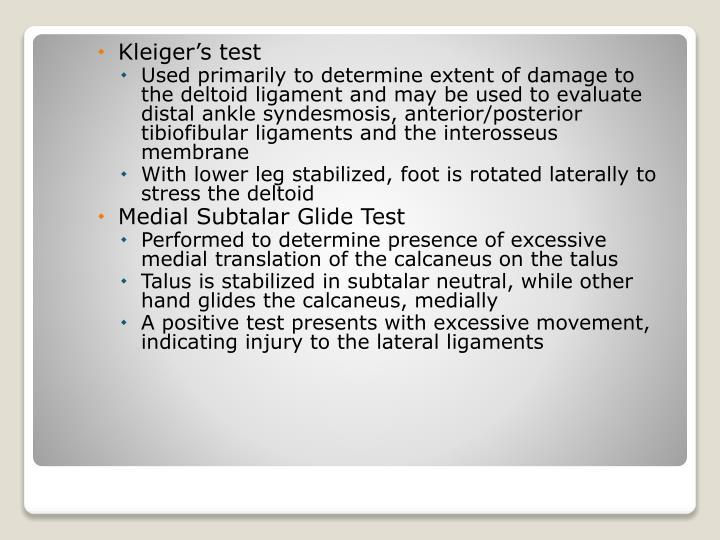 Kleiger's test