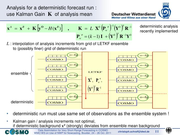 deterministic run must use same set of observations as the ensemble system !