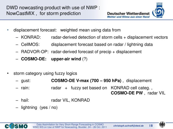 DWD nowcasting product with use of NWP :
