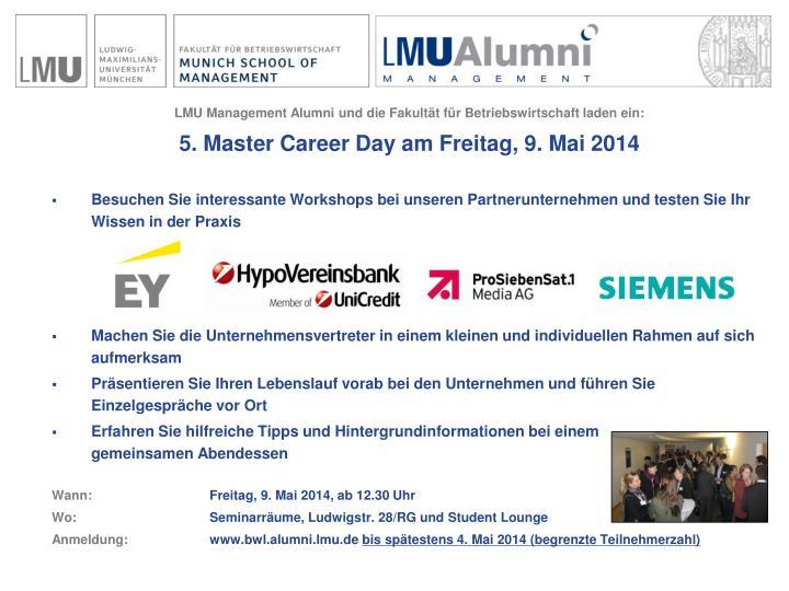 LMU Management Alumni und die Fakultät für Betriebswirtschaft laden ein: