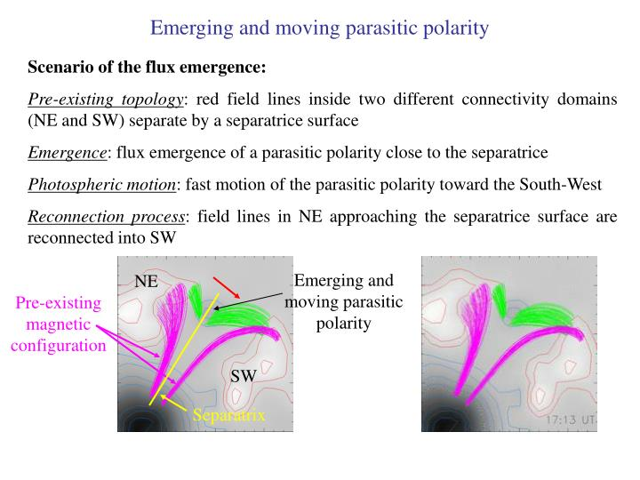 Emerging and moving parasitic polarity