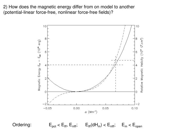 2) How does the magnetic energy differ from on model to another (potential-linear force-free, nonlinear force-free fields)?