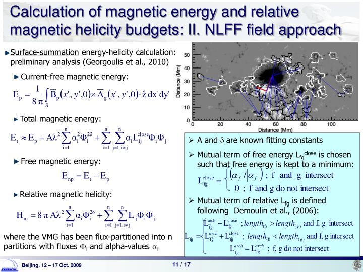 Calculation of magnetic energy and relative magnetic helicity budgets: II. NLFF field approach