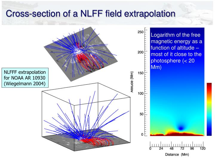 Cross-section of a NLFF field extrapolation