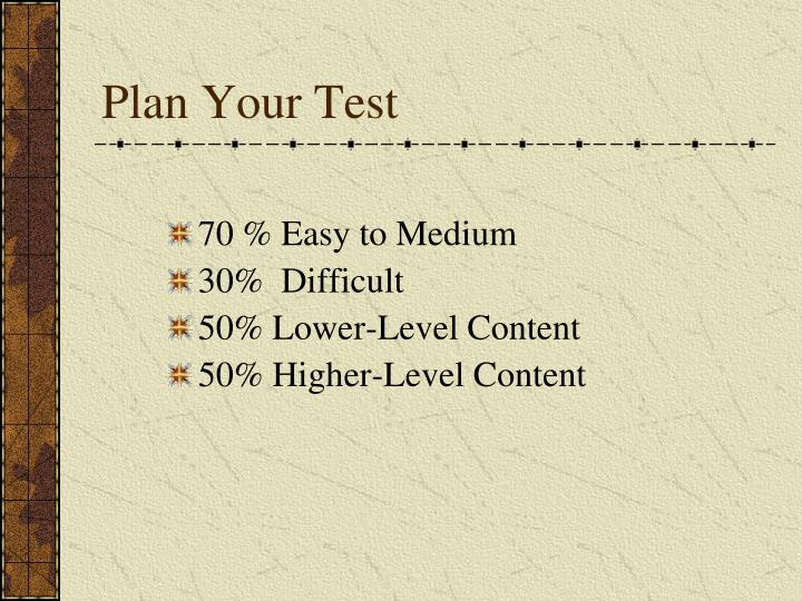 Plan Your Test