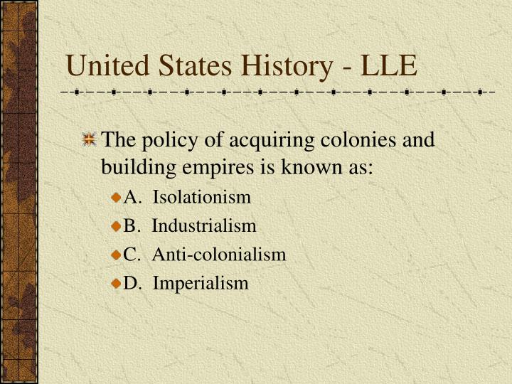 United States History - LLE
