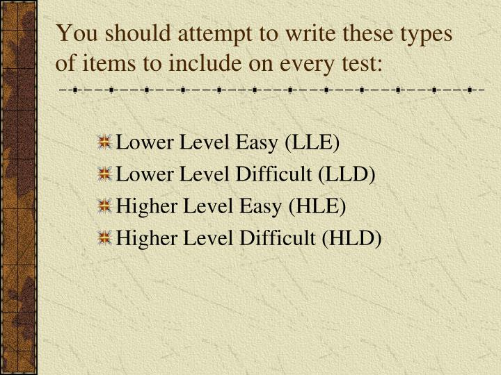 You should attempt to write these types of items to include on every test: