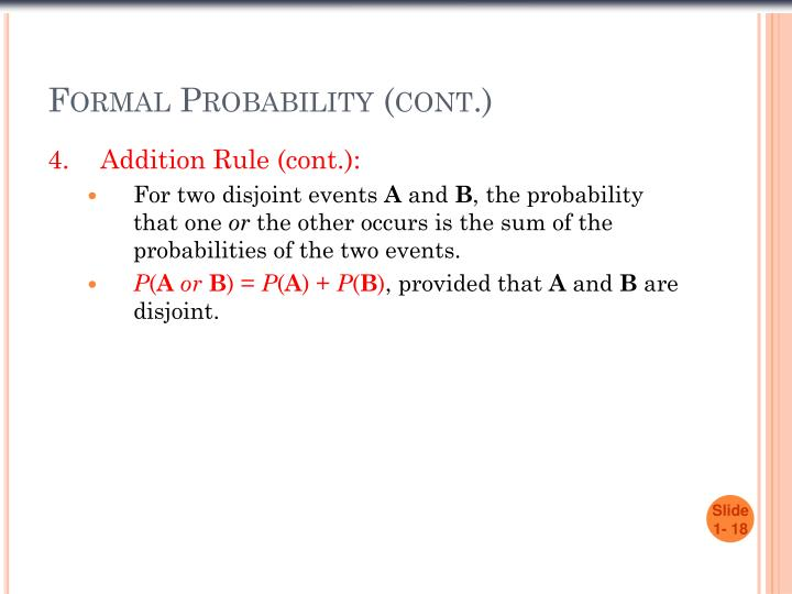 Formal Probability (cont.)