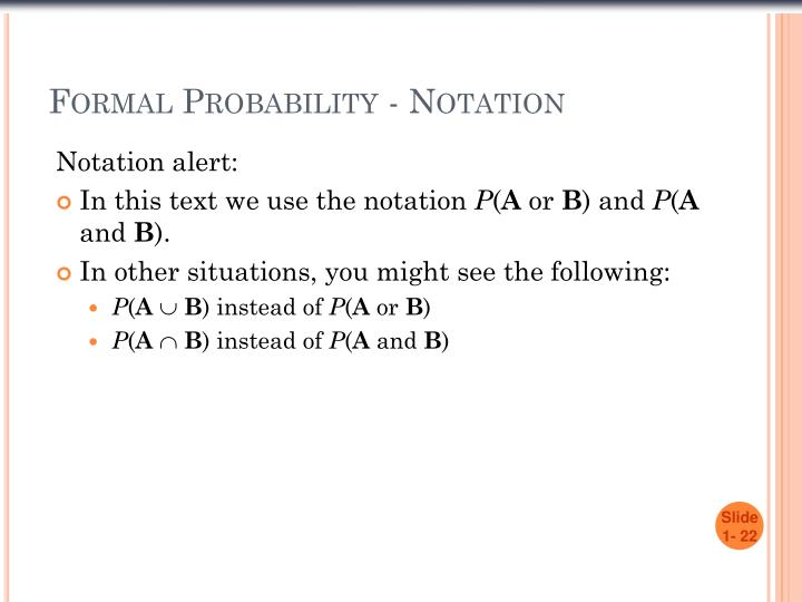 Formal Probability - Notation