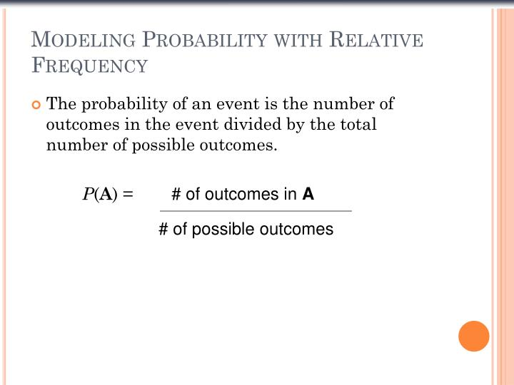 Modeling Probability with Relative Frequency