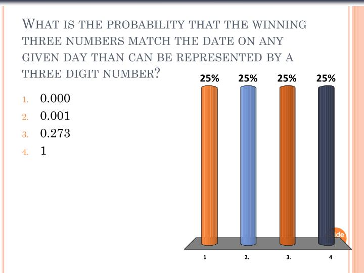What is the probability that the winning three numbers match the date on any given day than can be represented by a three digit number?