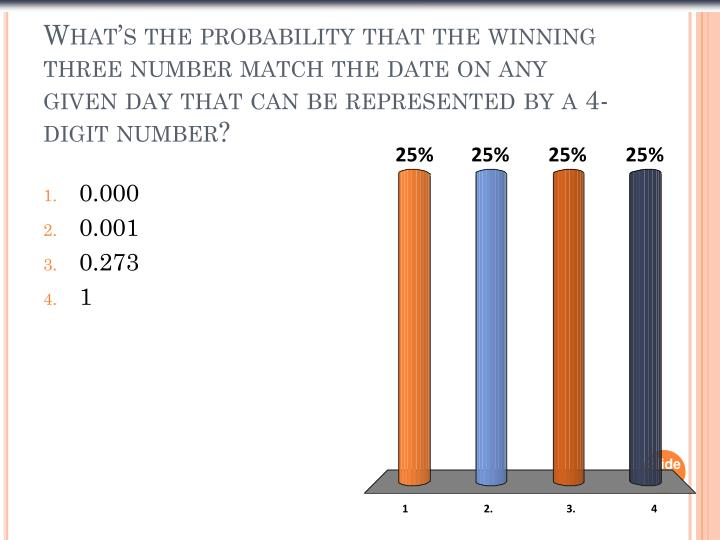 What's the probability that the winning three number match the date on any given day that can be represented by a 4-digit number?