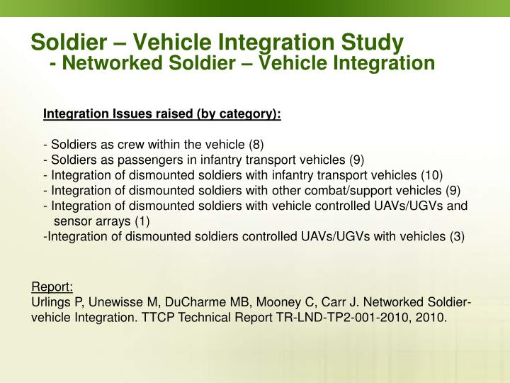 Soldier – Vehicle Integration Study