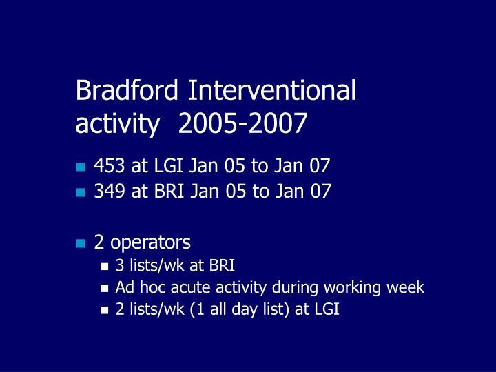 Bradford Interventional activity  2005-2007