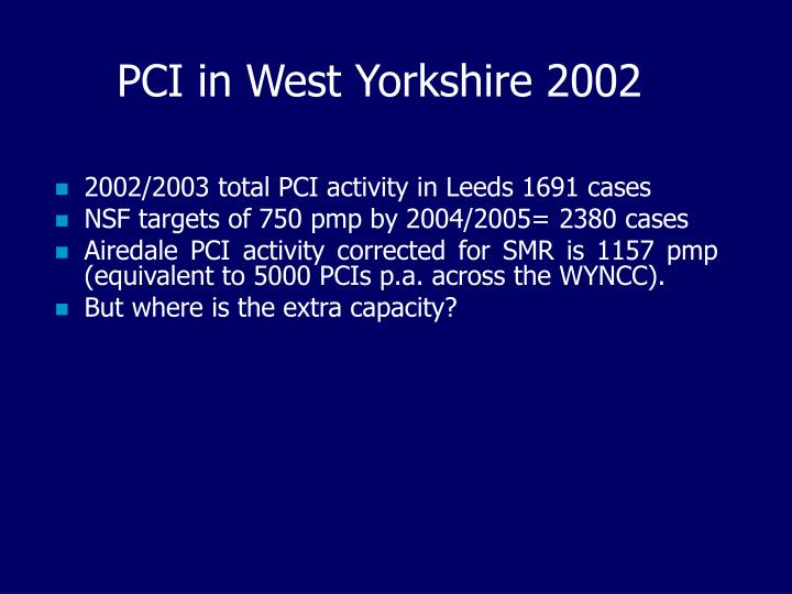 PCI in West Yorkshire 2002