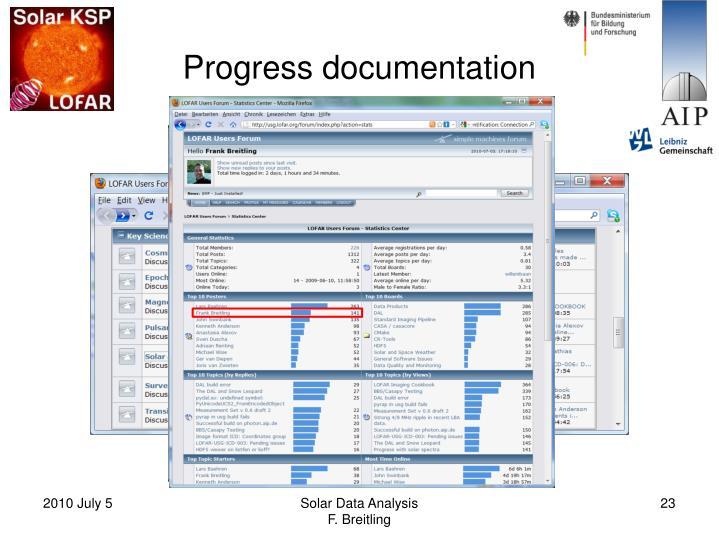 Progress documentation