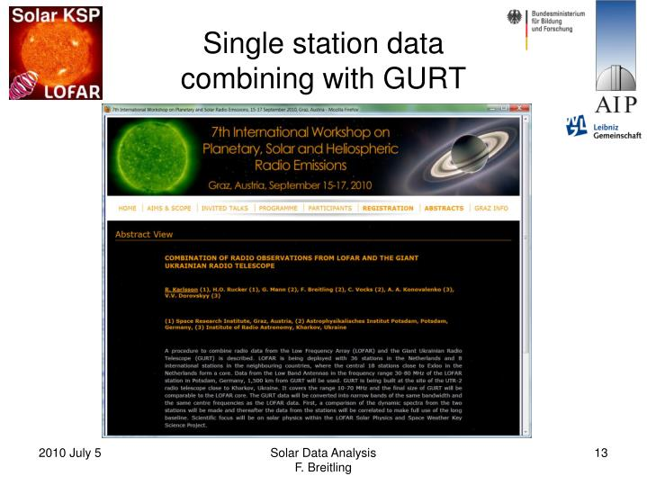 Single station data
