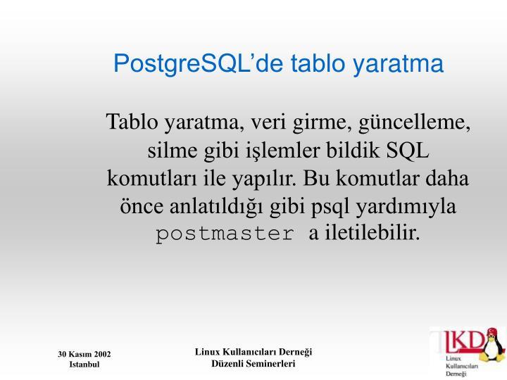 PostgreSQL'de tablo