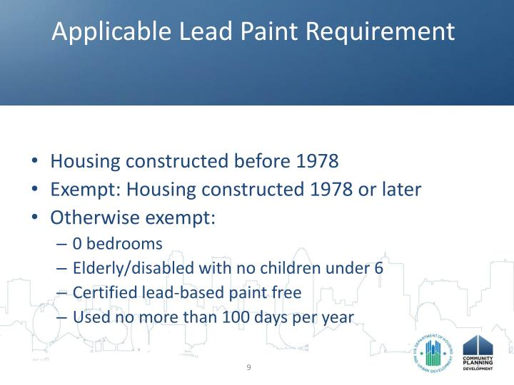 Applicable Lead Paint Requirement