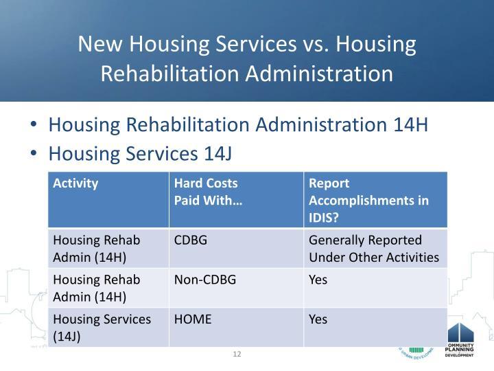 New Housing Services vs. Housing Rehabilitation Administration