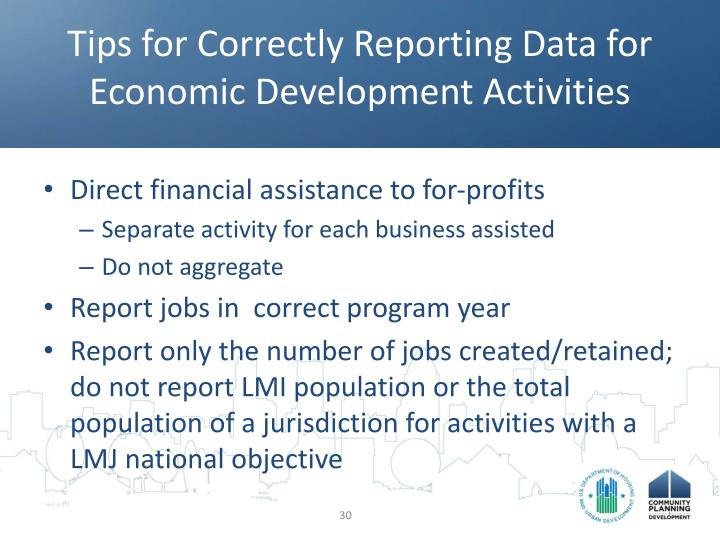 Tips for Correctly Reporting Data for Economic Development Activities