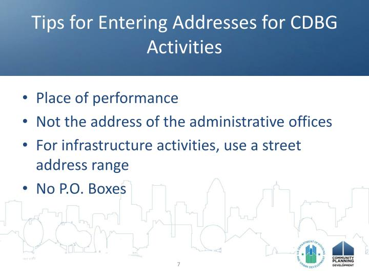 Tips for Entering Addresses for CDBG Activities