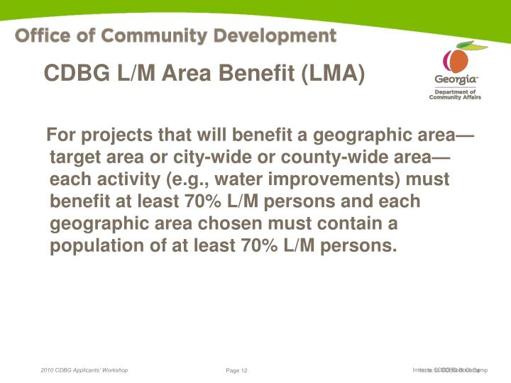 CDBG L/M Area Benefit (LMA)
