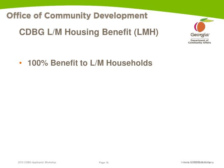 CDBG L/M Housing Benefit (LMH)