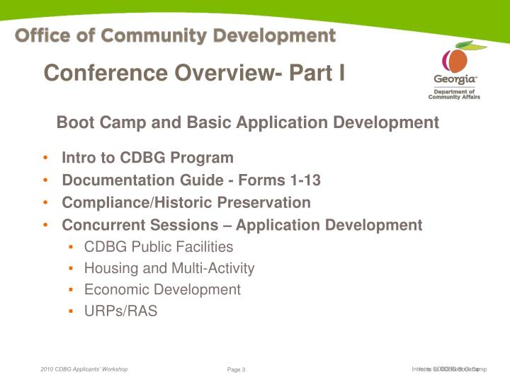 Conference overview part i