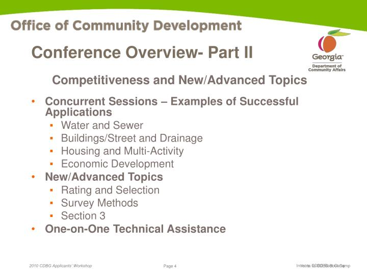 Conference Overview- Part II