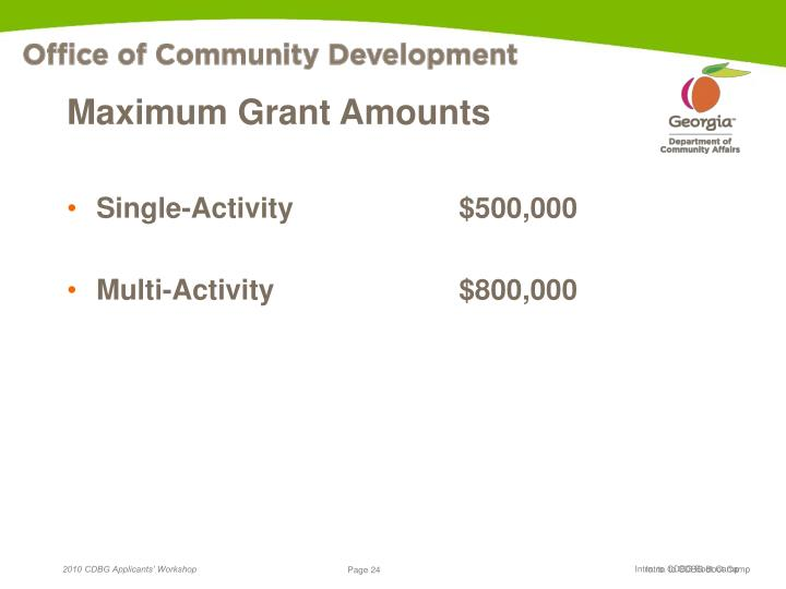 Maximum Grant Amounts