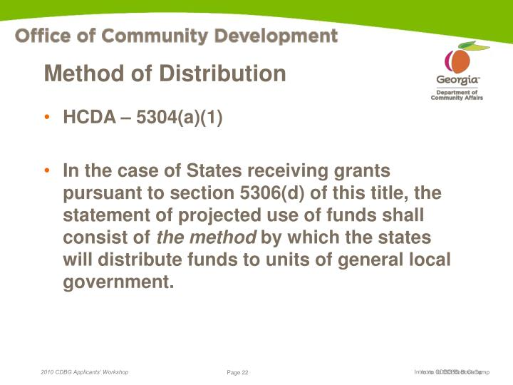 Method of Distribution
