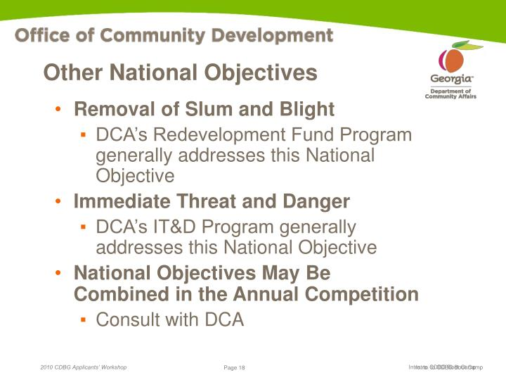 Other National Objectives