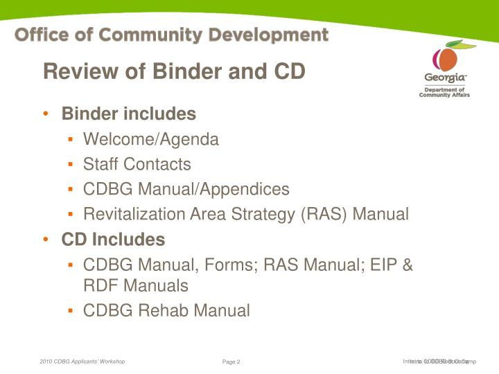 Review of binder and cd