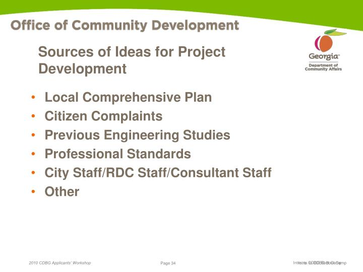 Sources of Ideas for Project Development